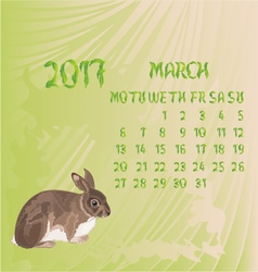 Calendar March 2017 and bunny vector image