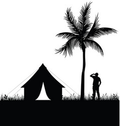Camping in nature man silhouette vector