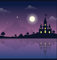 Castle on the hills at night magic night vector