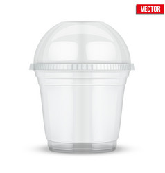 Clear plastic cup with sphere dome cap vector