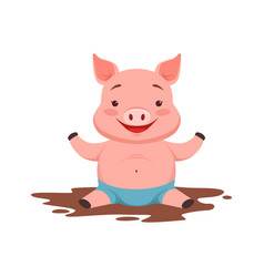 cute happy pig sitting in a dirty pool funny vector image vector image