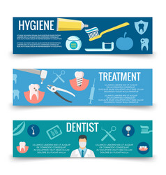 Dental service flat banners template - teeth care vector