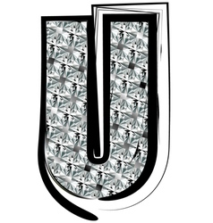 Diamond Font letter U vector image vector image