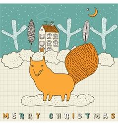 Doodle fox christmas card vector