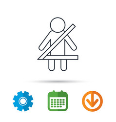Fasten seat belt icon human silhouette sign vector