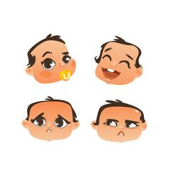 flat baby face expression emotion set vector image