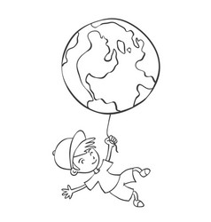 Hand draw child with earth vector