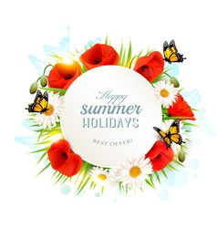 Happy summer holidays background with poppies vector image