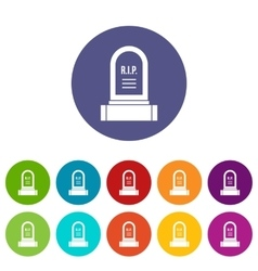 Headstone set icons vector image vector image