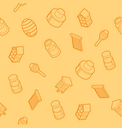 honey flat outline isometric pattern vector image vector image