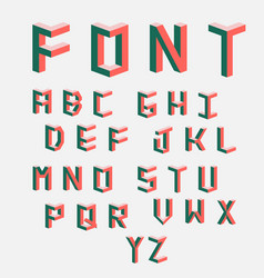 Isometric cubical alphabet vector