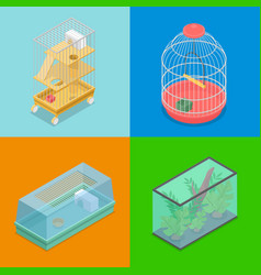 isometric pet carriers with aquarium vector image vector image