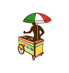 Italian ice push cart retro vector