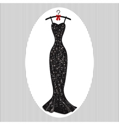 Long evening dress black on hangers vector image