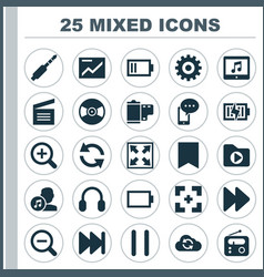 Media icons set collection of energy gear vector