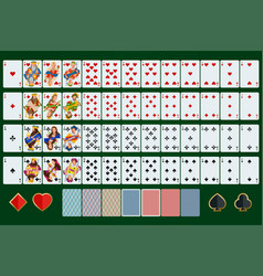 poker cards full set with isolated cards on green vector image