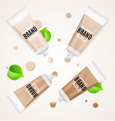 Realistic empty template foundation cream set vector