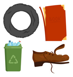 recycling garbage elements trash bags tires vector image
