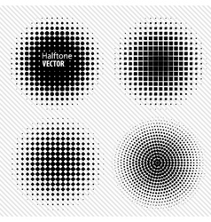 Set of Black Abstract Halftone Circles Logo vector image
