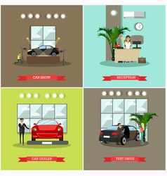 Set of car shop posters in flat style vector