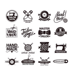 set of logos for handmade shops tailor salon vector image vector image