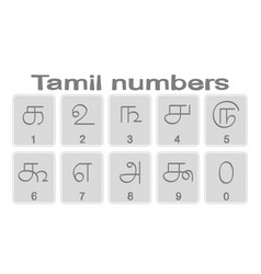 Set of monochrome icons with tamil numbers vector