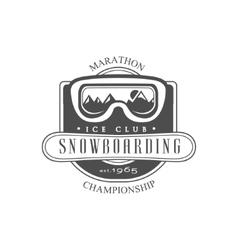 Snowboarding ice club emblem design vector