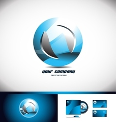 Sphere circle blue logo icon 3d vector image