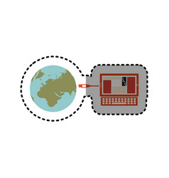 Sticker laptop global hosting database vector