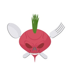 Veggie logo scary beet with eyes and teeth fork vector