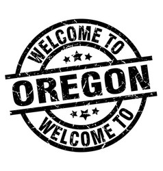 Welcome to oregon black stamp vector