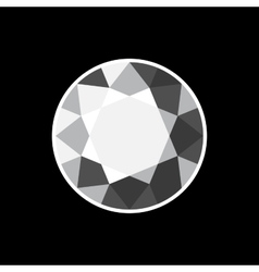 White Diamond Icon on Black Background vector image