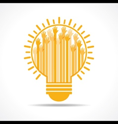 Yellow raised hand in the light-bulb vector image vector image