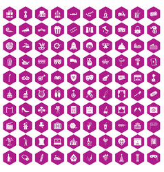100 mask icons hexagon violet vector