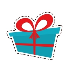 Gift box ribbon wedding present color cut line vector
