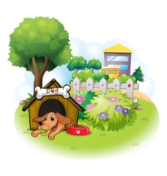A dog inside a doghouse across the big buildings vector