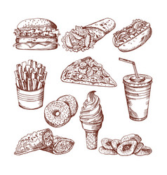 fast food restaurant hand drawn pictures vector image