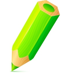 cute green wooden little pencil vector image