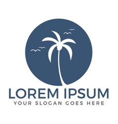 Palm tree travel and tourism logo design vector