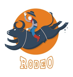 Rodeo symbolman riding a bull vector