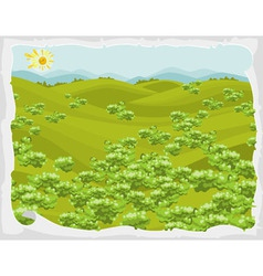 Summer landscape green hills with trees in frame vector