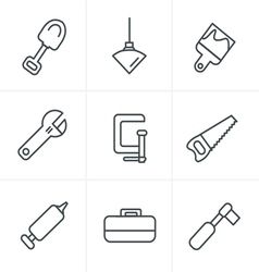 Line icons style basic - tools and construction ic vector