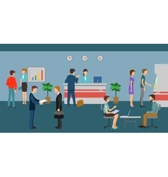 Bank staff and clients in office interior vector