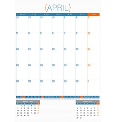 Calendar planner 2016 design template april week vector
