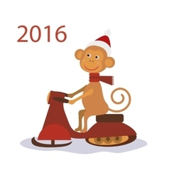 Monkey santa claus on snowmobile vector