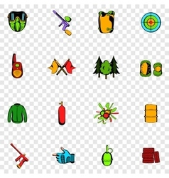 Paintball set icons vector