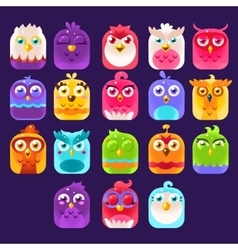 Fantasy birds icons set vector
