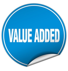 Value added round blue sticker isolated on white vector