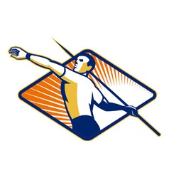 Track and field athlete javelin throw retro vector
