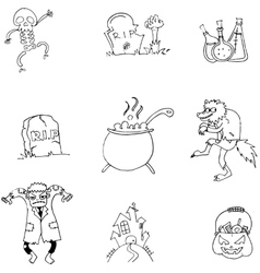 Black and white doodle halloween vector